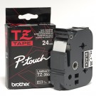 "Brother TZE355 P-Touch 1"" White on Black Laminated Tape"